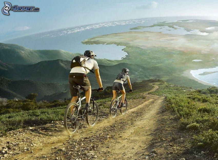 cyclists, view, sea, land, hills, path, gravel