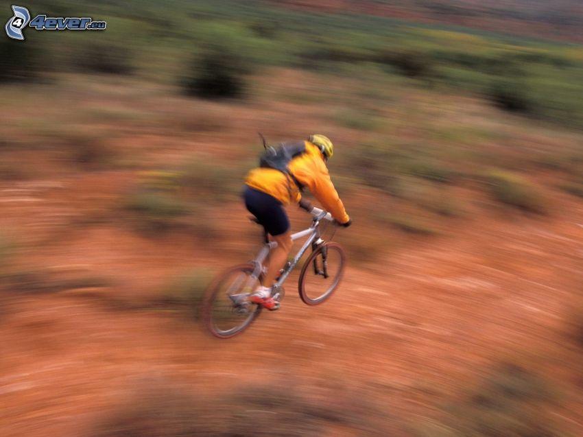 mountain biker, jump on bike, speed