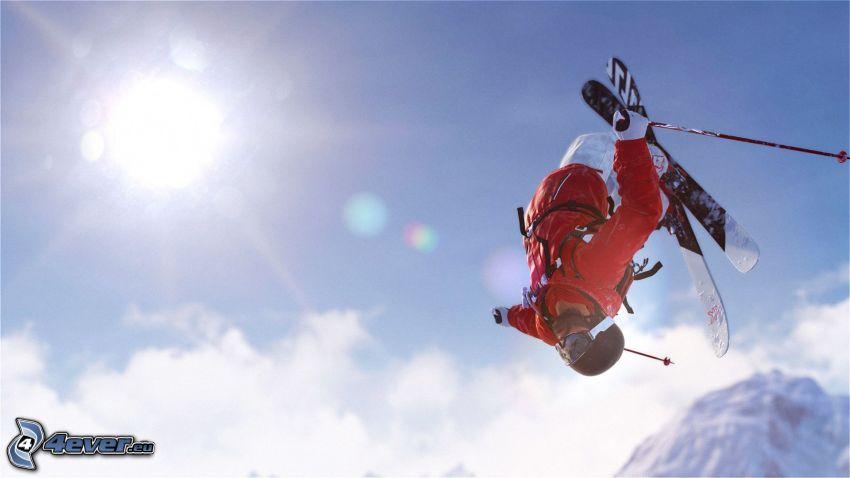 extreme skiing, jump, sun