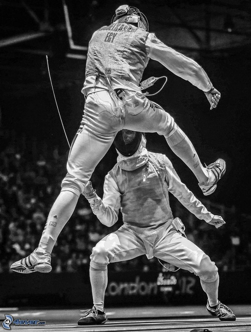 fencing, swordsmen, black and white photo