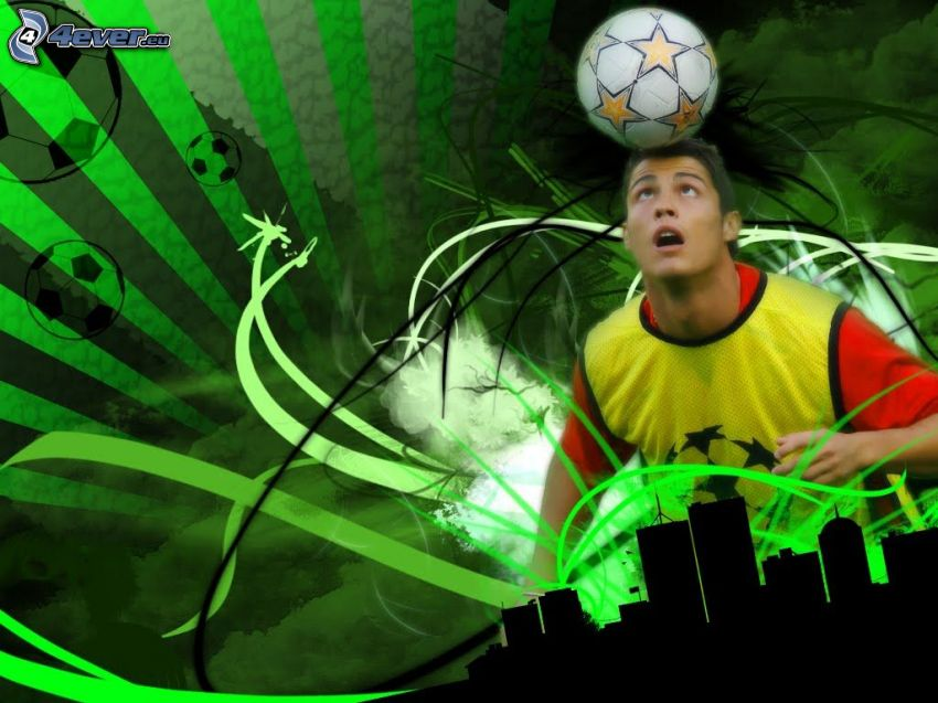 Cristiano Ronaldo, soccer ball, silhouettes of skyscrapers, green background