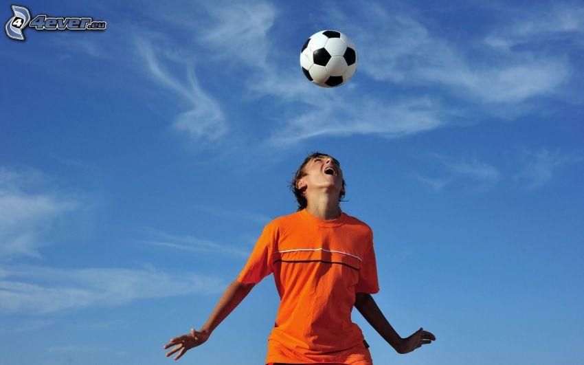 footballer, soccer ball, sky