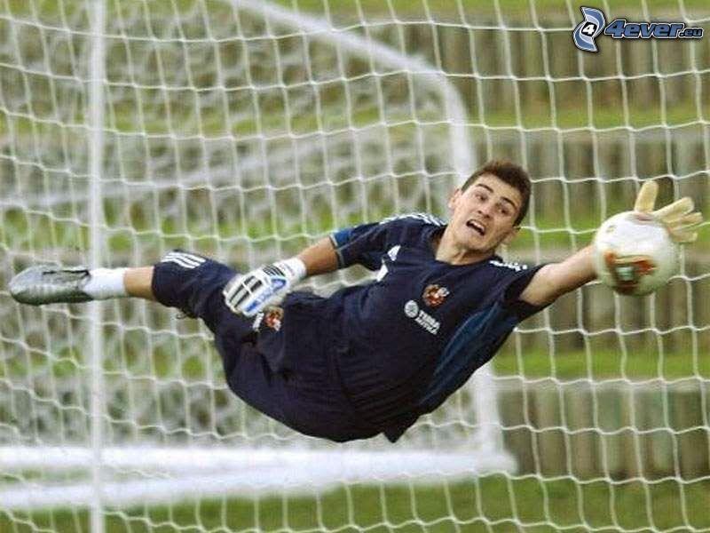 Iker Casillas, goalkeeper, ball, goal, soccer