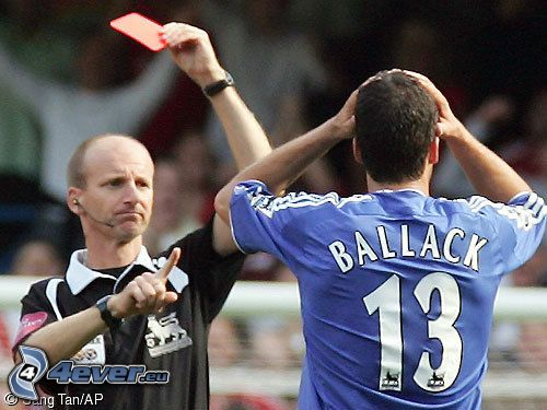 Michael Ballack, soccer, card, referee