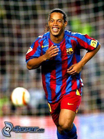 Ronaldinho, football player with the ball