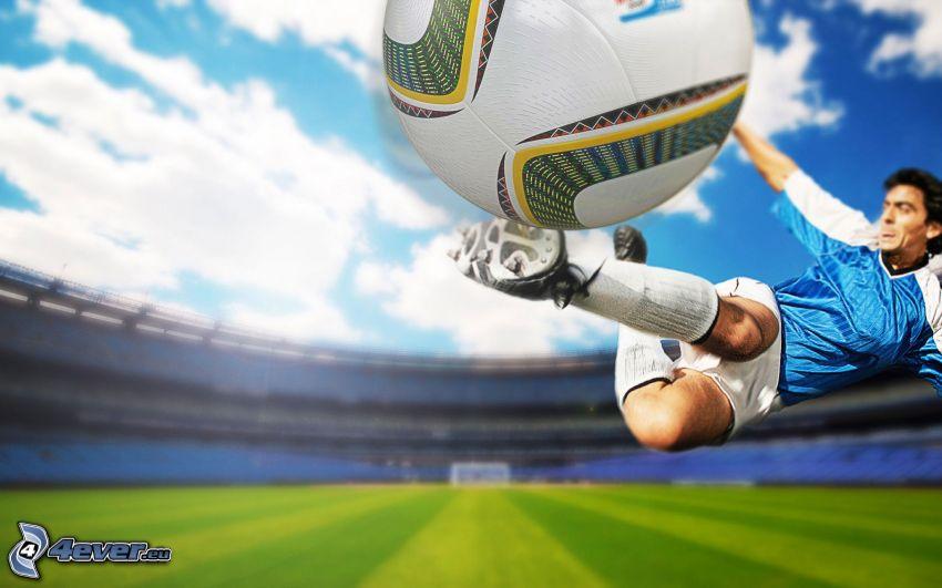 soccer, footballer, soccer ball, stadium