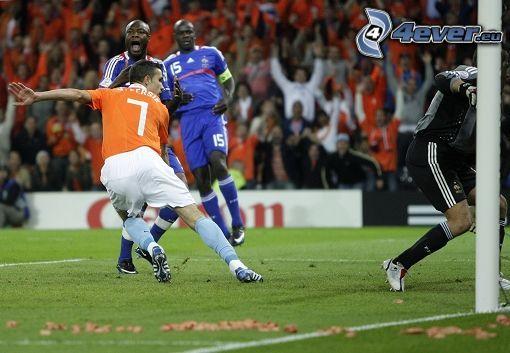 soccer, man, player, goal, lawn