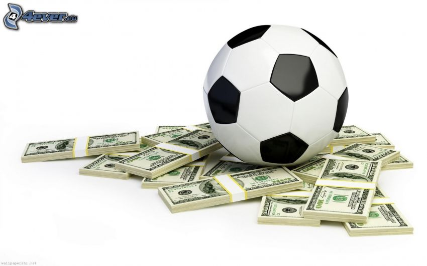 soccer ball, dollars