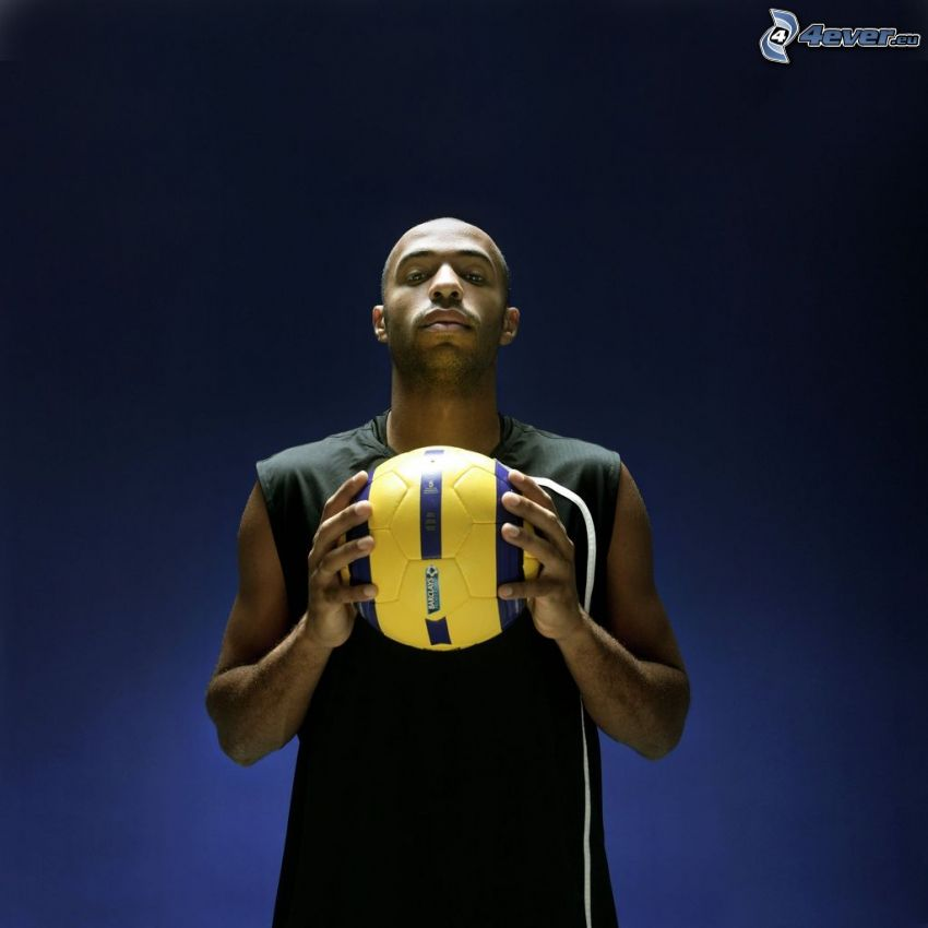Thierry Henry, football player with the ball
