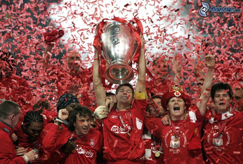 victory, cup, joy, footballers