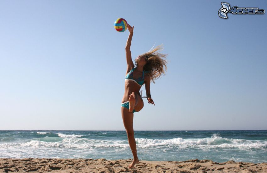 girl on the beach, volleyball, sea