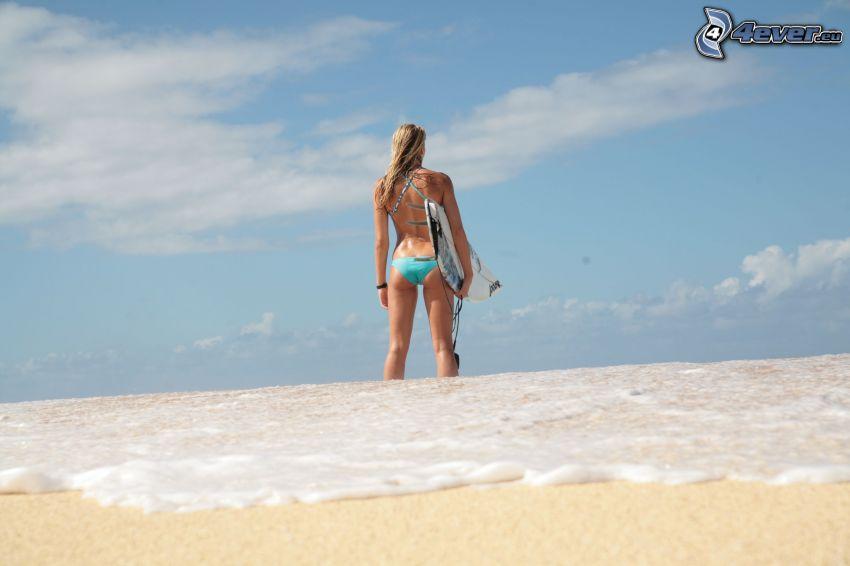 girl surfer, sea, beach