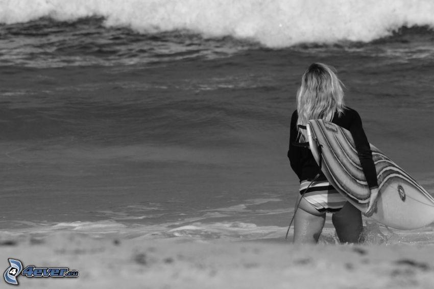 girl surfer, sea, black and white photo