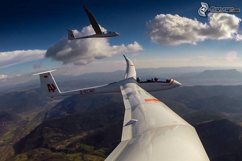 glider, mountains, clouds