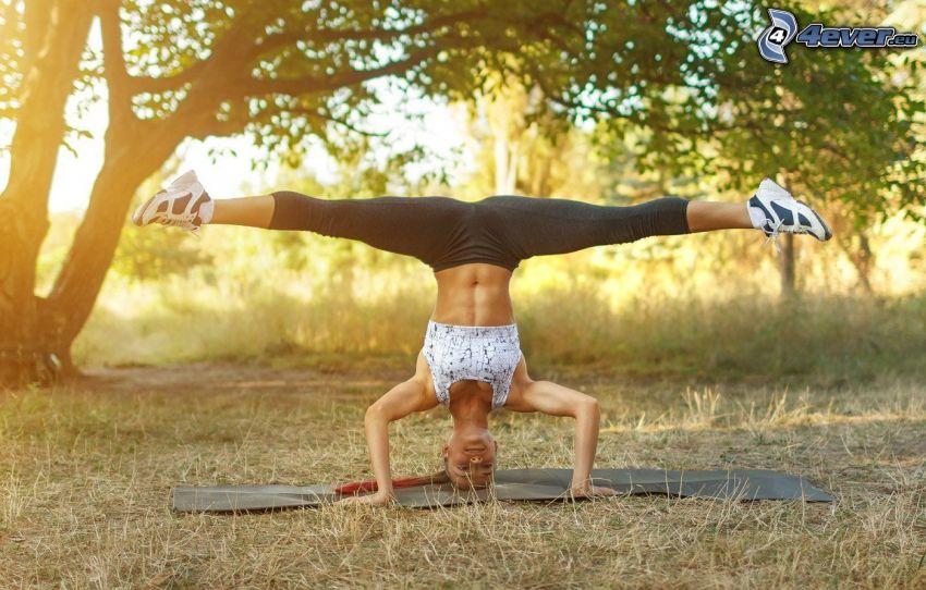 handstand, clothesline