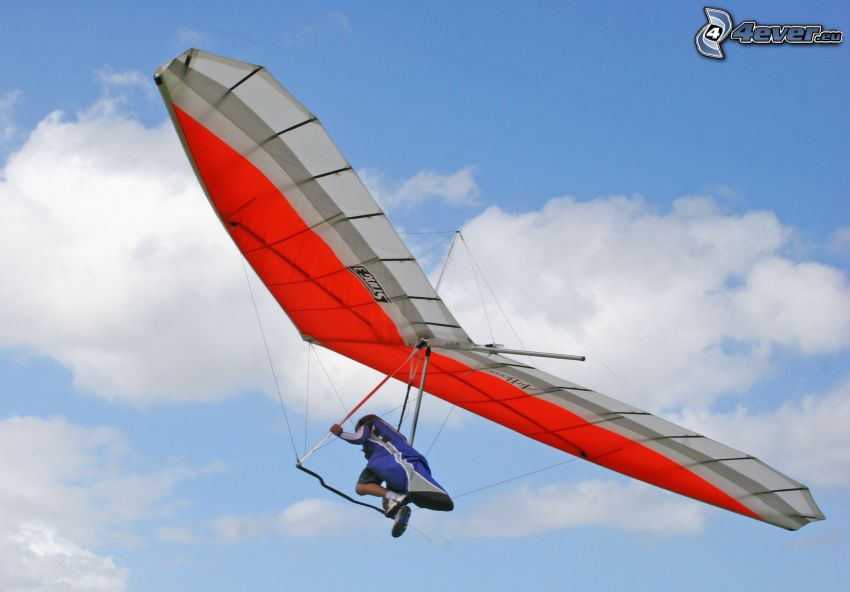 hang gliders, clouds