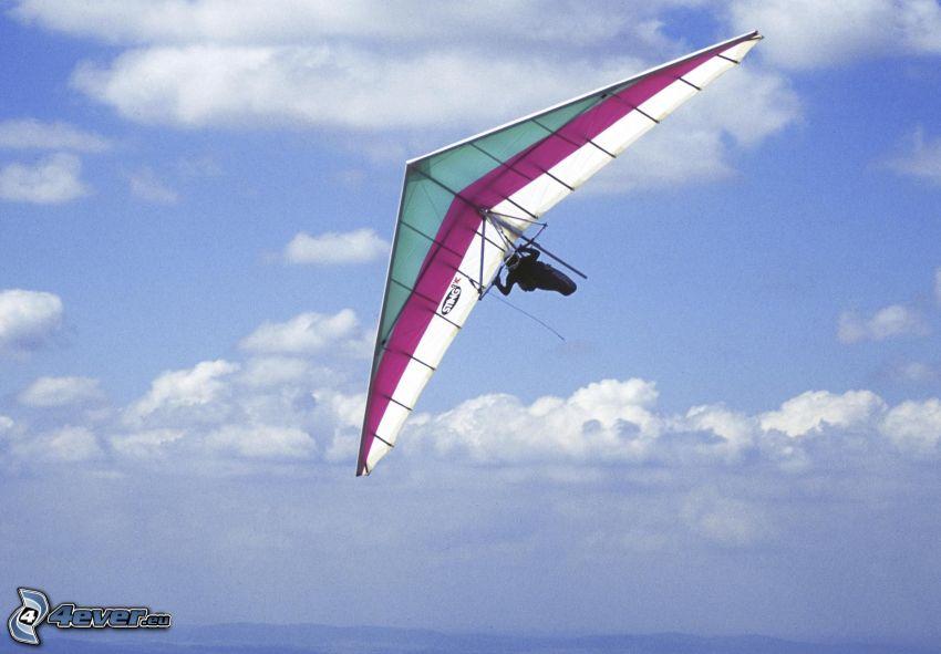 hang gliders, clouds