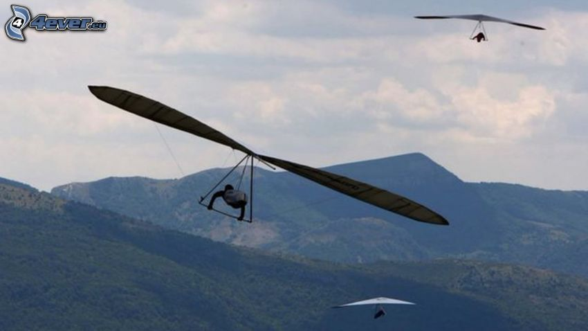 hang gliders, mountain
