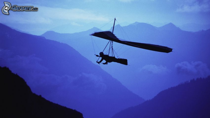 hang gliders, mountains, silhouette