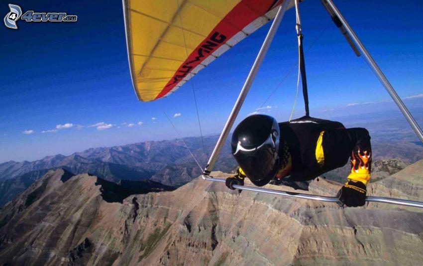 hang gliders, mountains