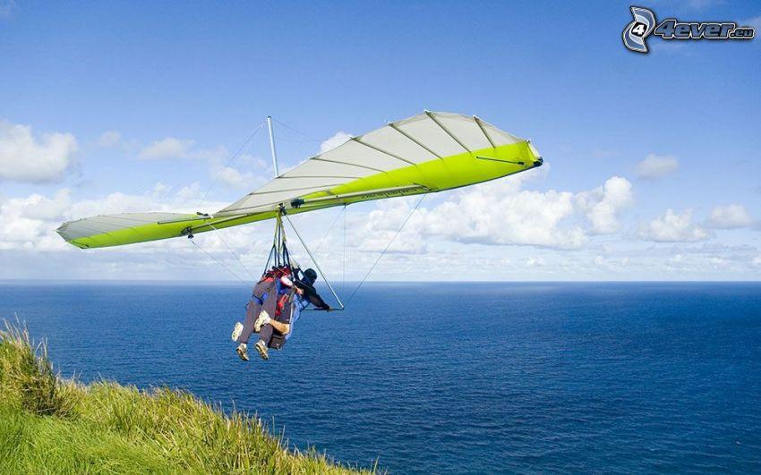 hang gliders, open sea, tandem
