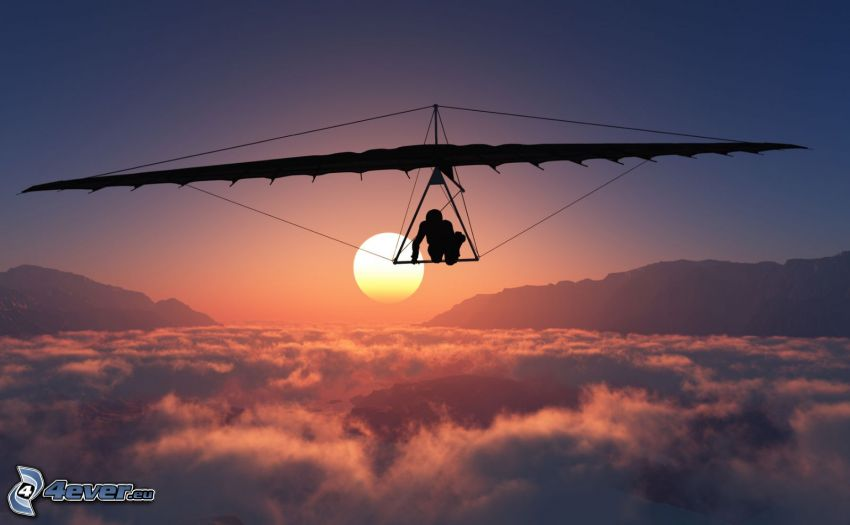 hang gliders, sunset over the clouds, mountain, silhouette