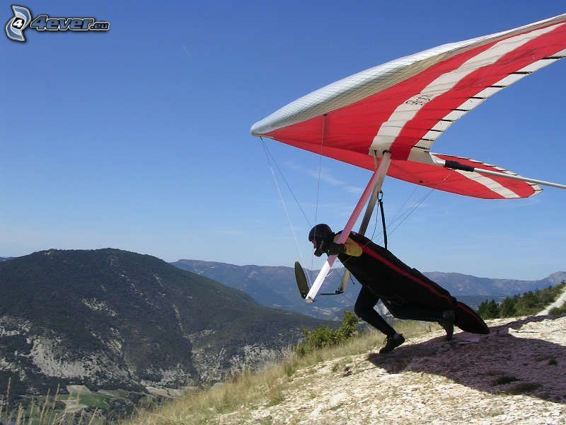 hang gliders, take-off, mountain
