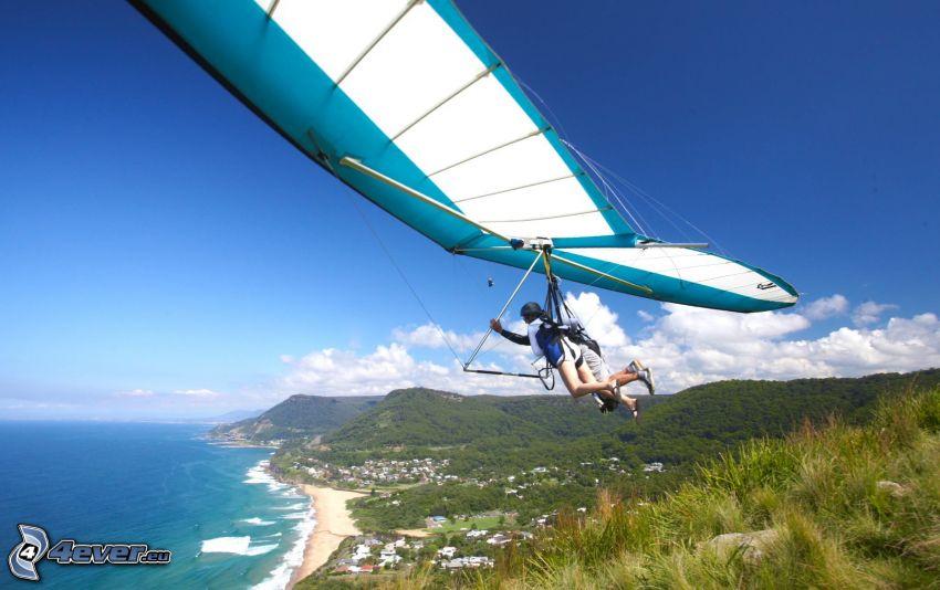 hang gliders, tandem, coast