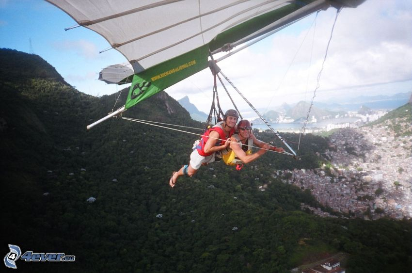 hang gliders, tandem, mountains
