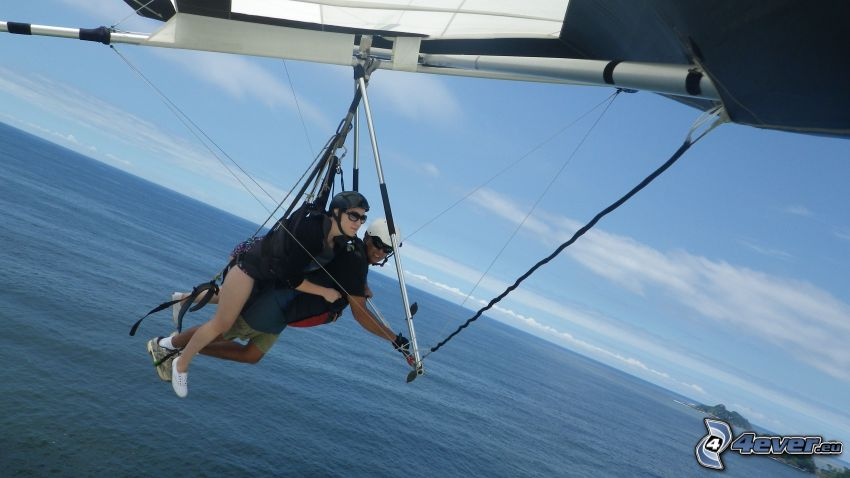 hang gliders, tandem, open sea