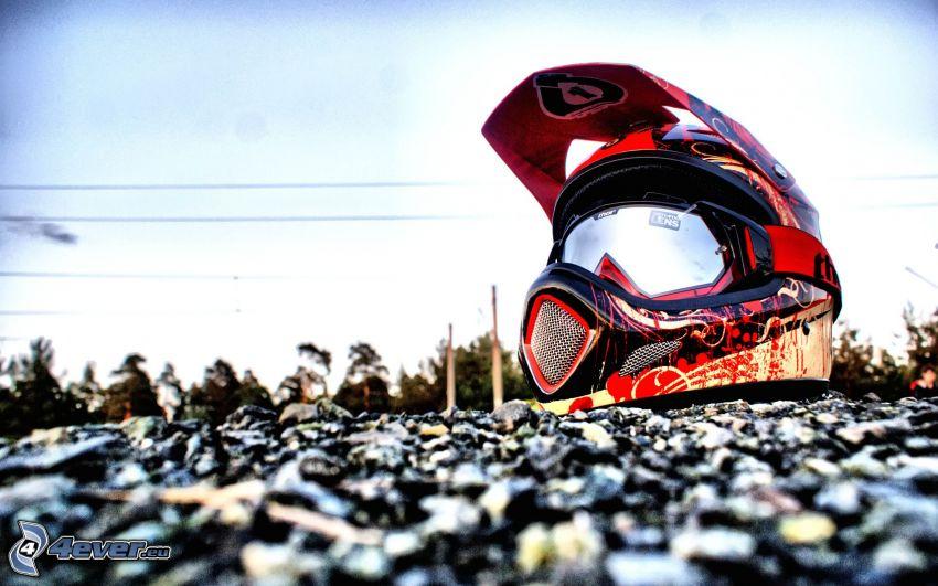 helmet, gravel
