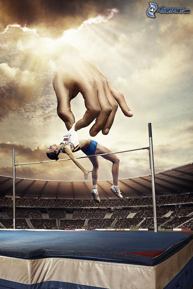 high jump, hand, stadium, sunbeams