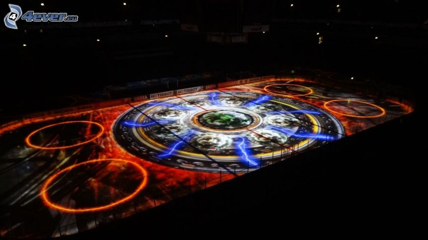 colored ice rink, hockey