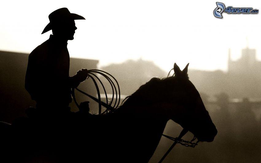horse ride, silhouette