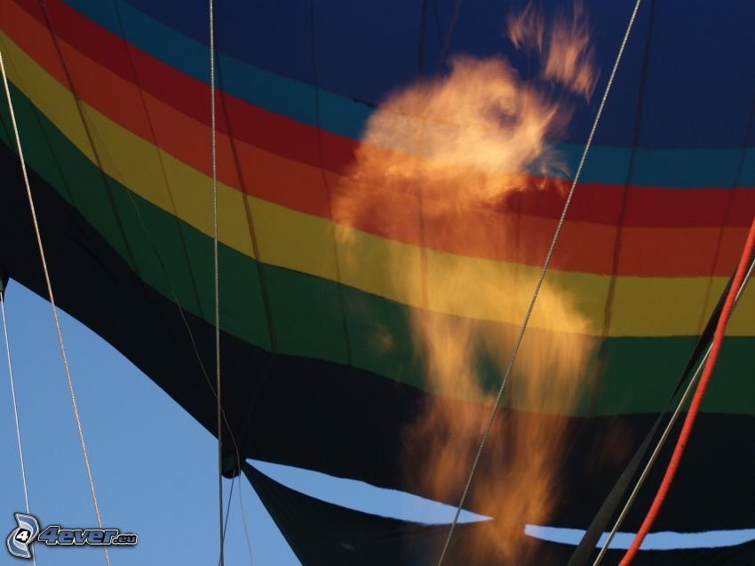 hot air balloon, fire