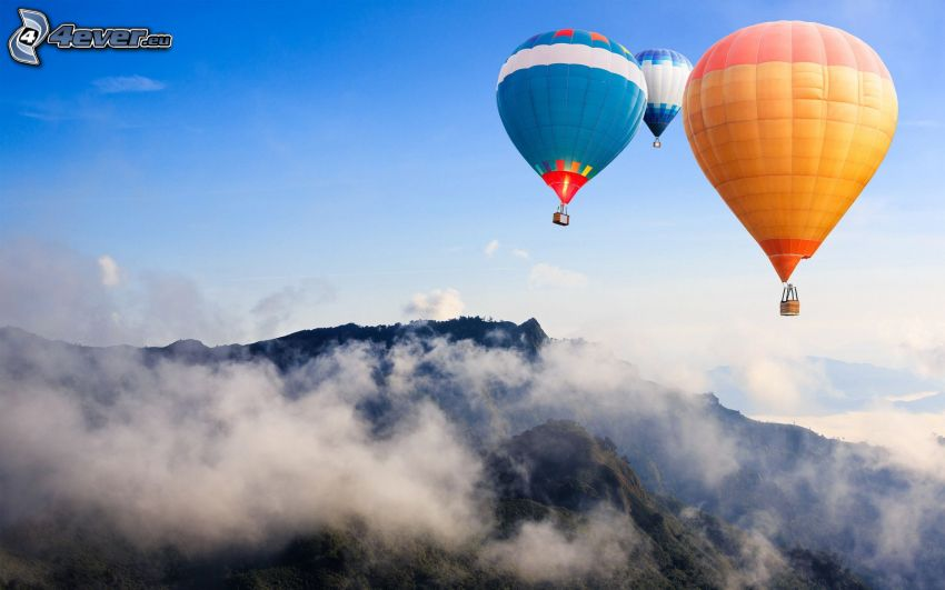 hot air balloons, mountain, fog