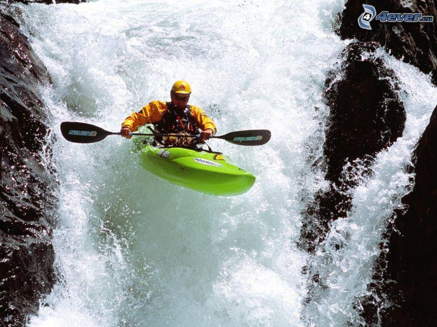 kayak, waterfall
