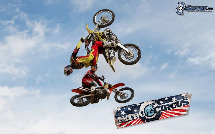 motocross, jump on motorcycle, acrobatics