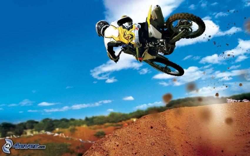 motocross, jump on motorcycle, acrobatics