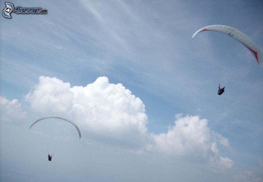 paragliding, clouds