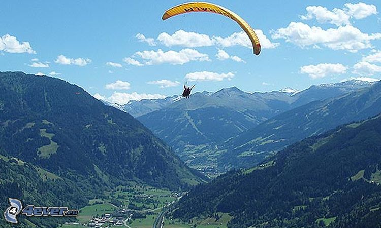 paragliding, mountains