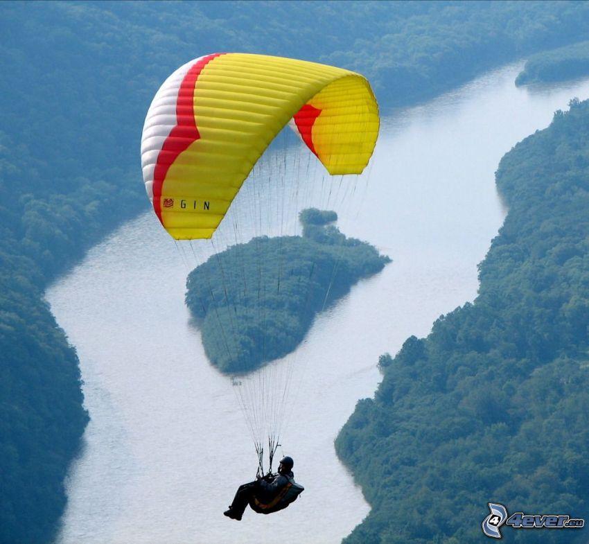 paragliding, River