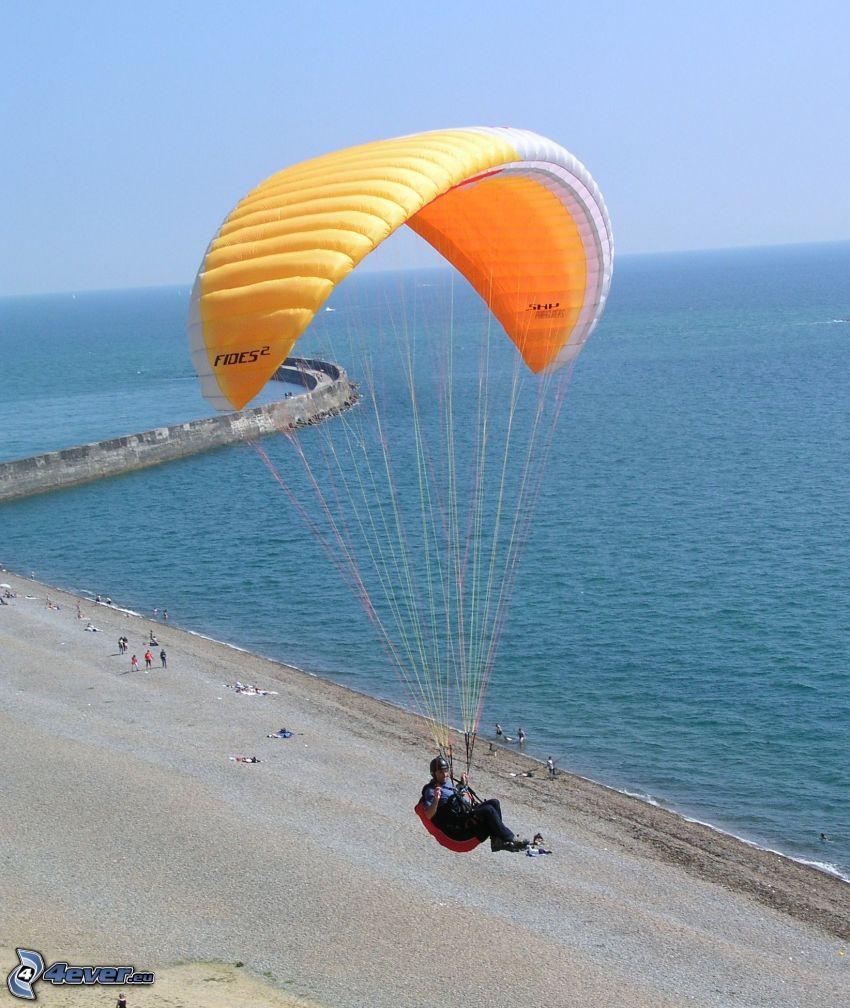 paragliding, sea