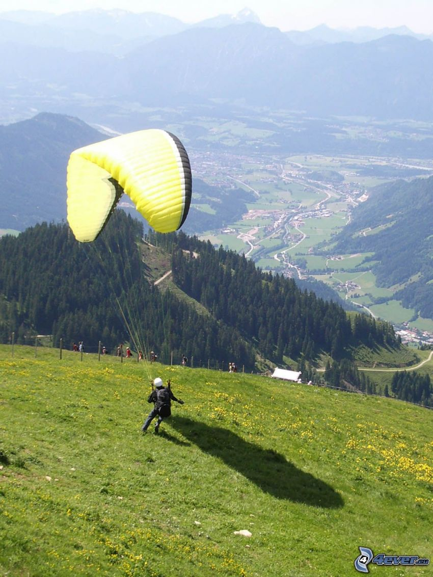 paragliding, valley