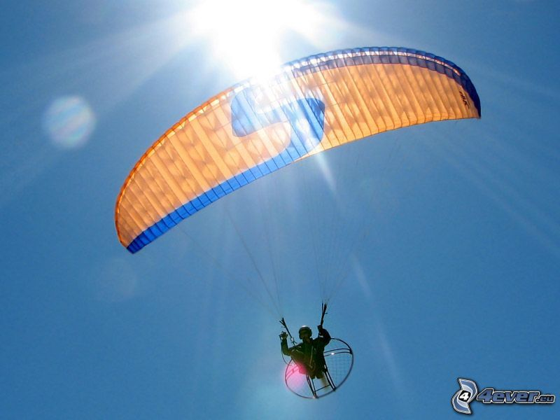 powered paragliding, sun