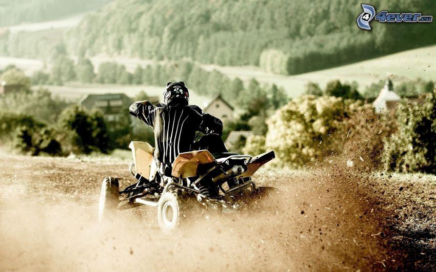 quad, drifting, mud, forest