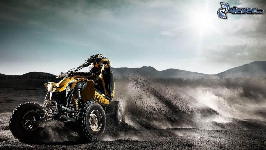 quad, sand, drifting