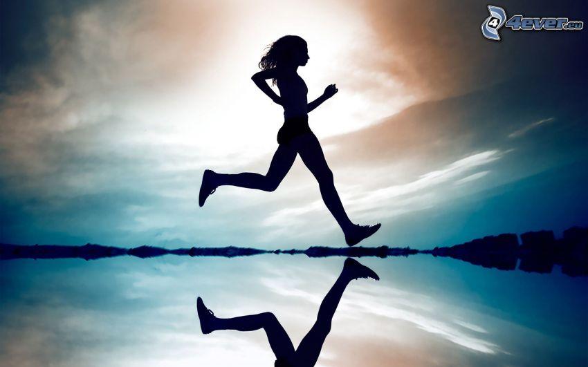 running, woman silhouette