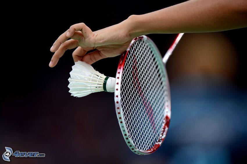shuttlecock, badminton racket, hand