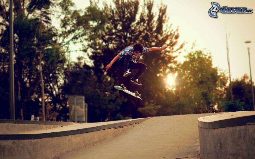 skateboard, jump, sunset, street